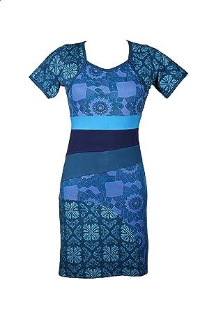 wunderschnes kurzarm kleid mit bunten ethno muster im patchwork design 100 baumwolle zahra - Kleid Ethno Muster