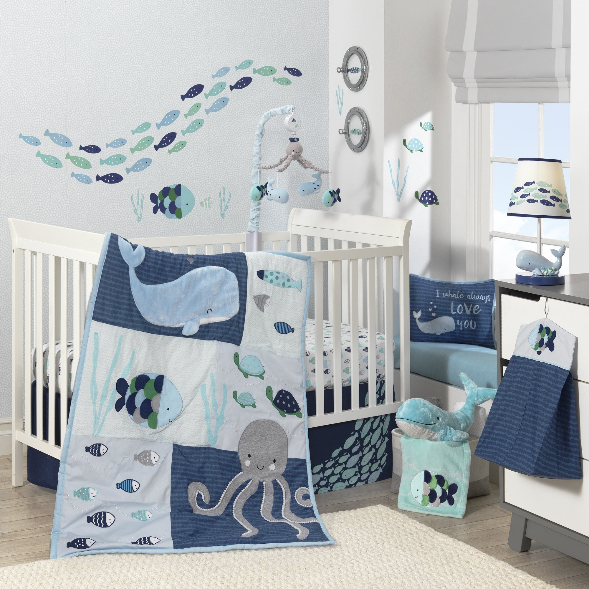 Lambs & Ivy Oceania 6-Piece Baby Crib Bedding Set - Blue Ocean Whale & Octopus Theme