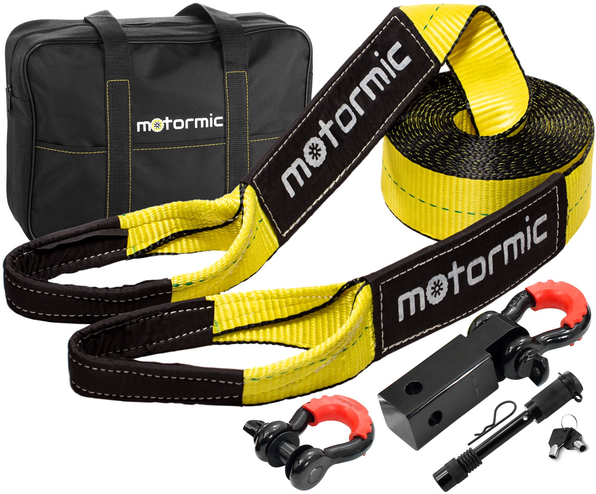 Motormic Tow Strap Heavy Duty Recovery Gear - Complete Recovery Strap Set with 3''X30' (30k lbs.) Tow Rope + 2'' Shackle Hitch Receiver + 5/8 Pin Lock + 3/4 D Ring Shackles + Bag - off road recovery kit