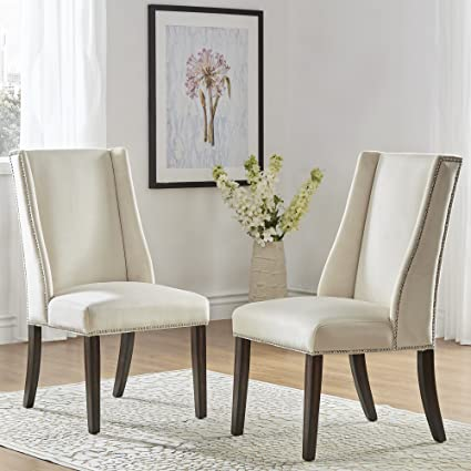 Inspire Q Geneva II Velvet Wingback Hostess Chairs (Set Of 2) By Bold Beige