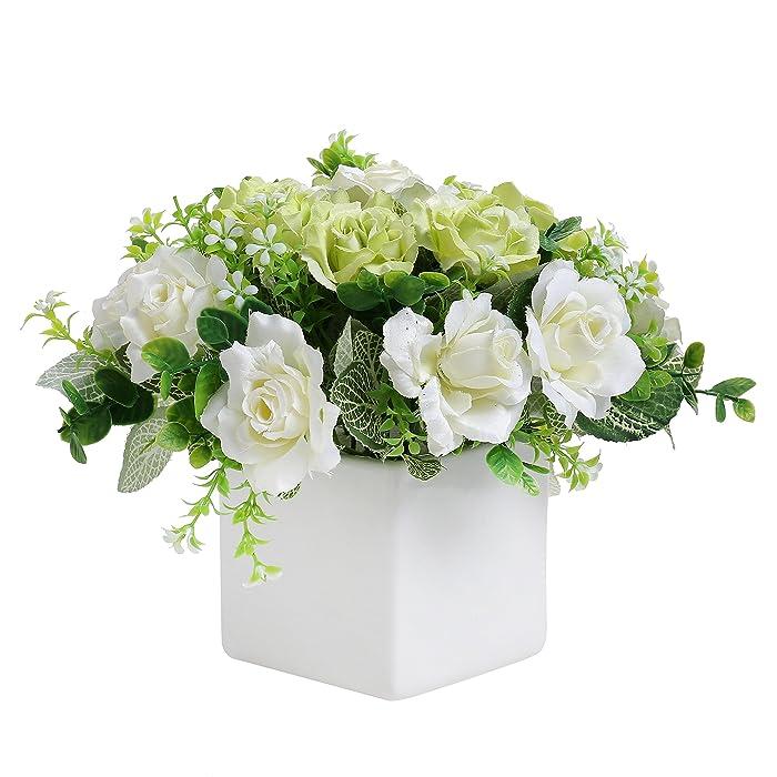 MyGift Decorative Artificial Ivory Rose Floral Arrangement in Square White Ceramic Vase