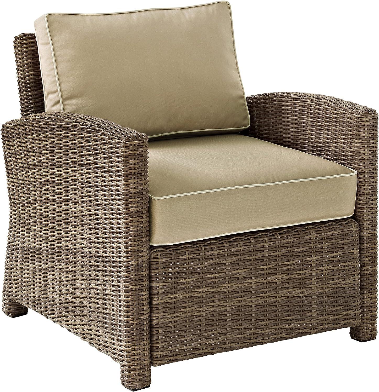 Crosley Furniture KO70023WB-SA Bradenton Outdoor Wicker Arm Chair, Brown with Sand Cushions