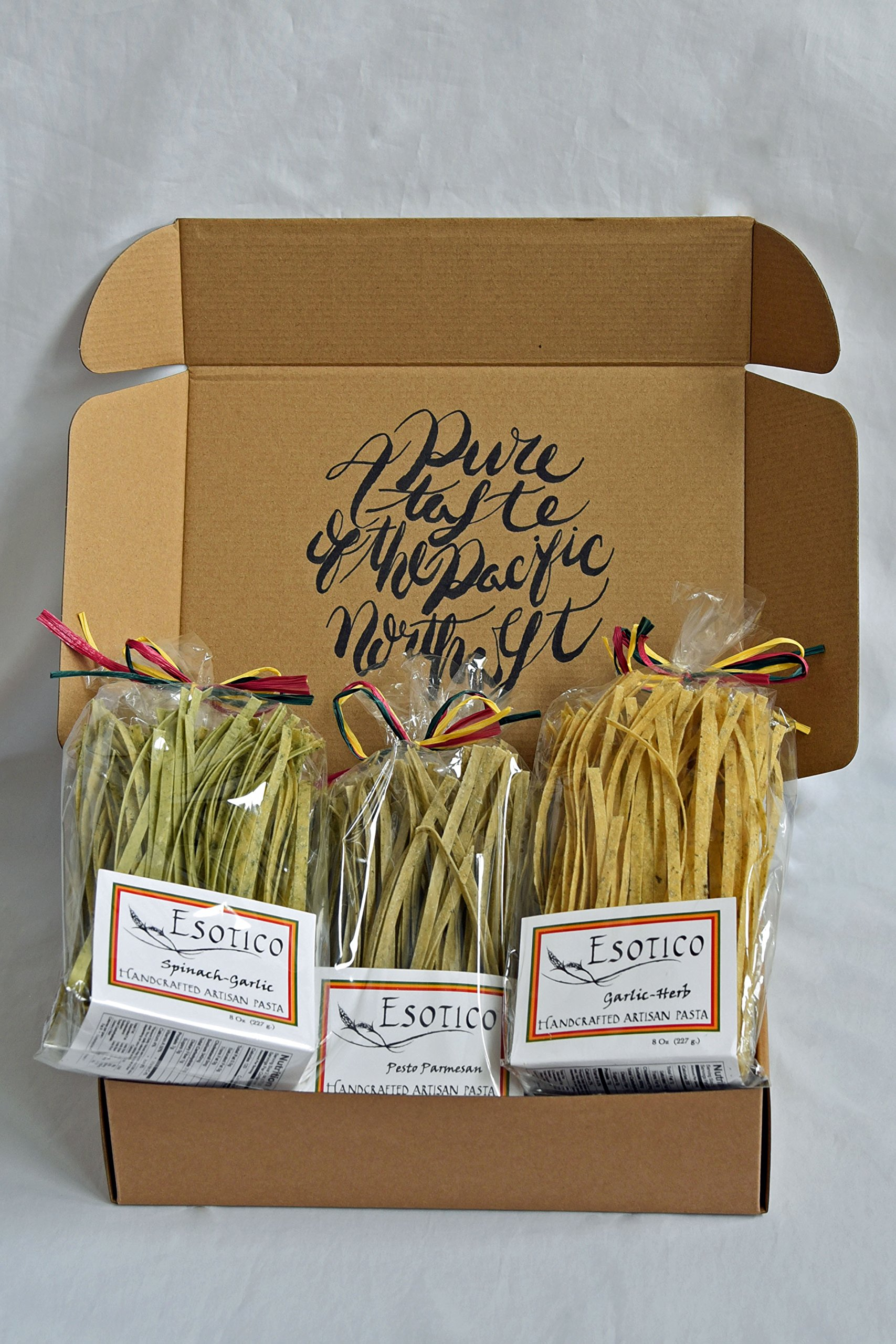 Artisanal PASTA ESSENTIAL VARIETY (pack of 3) - SPINACH GARLIC, HERB AND GARLIC AND PESTO PARMESAN by Esotico