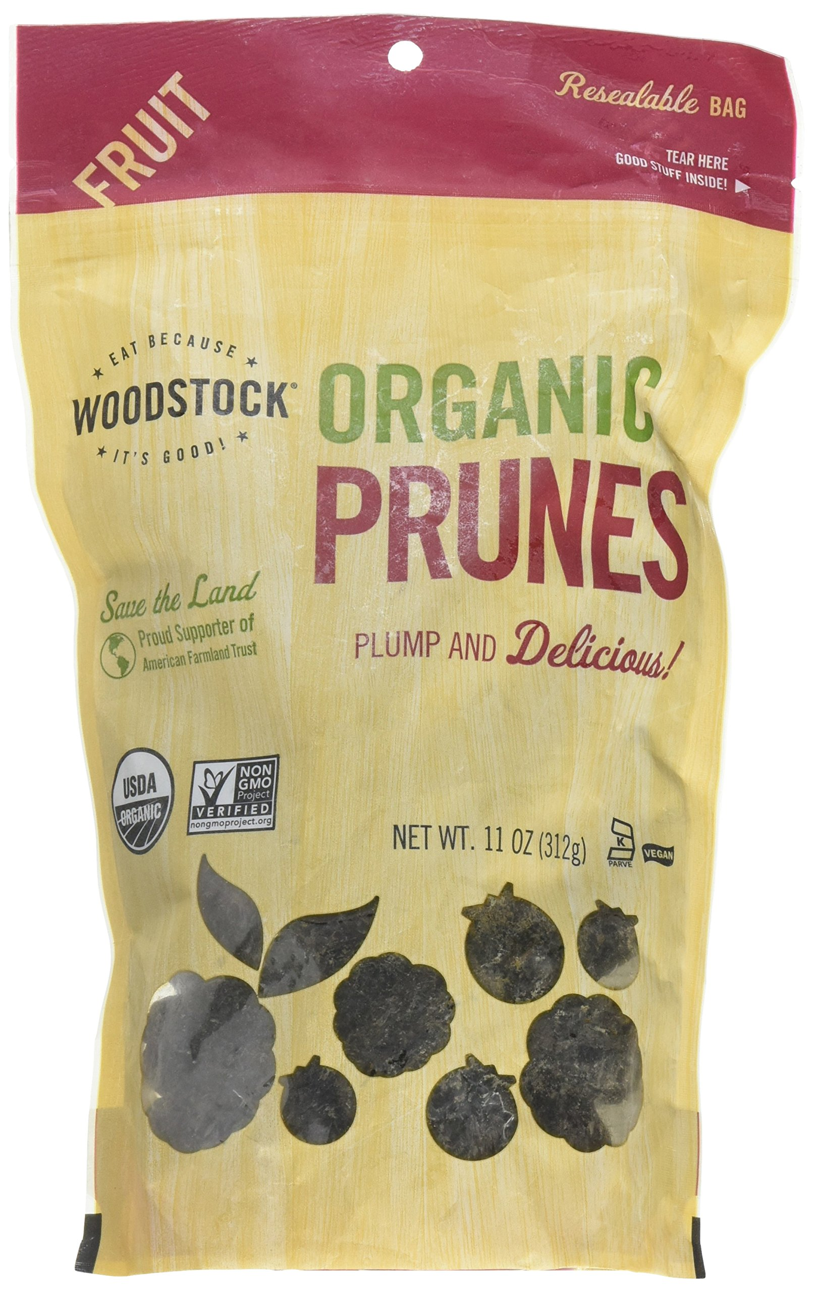 Woodstock Prunes, Organic, California Pitted, 11-Ounce (Pack of 2)