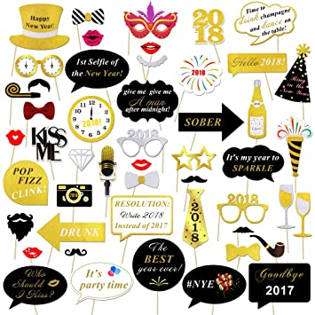 2018 New Years Photo Booth Props Kit(50Pcs), Konsait Funny Glitter ...