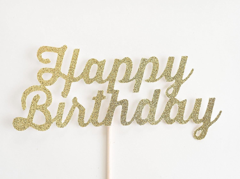 Gold Glitter 'Happy Birthday' Cake Topper, Script