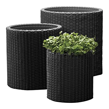 Keter Kunststoff Pflanztopf Zylinderformiges Pflanzgefass Aus Kunststoff Grau 3 Teilig