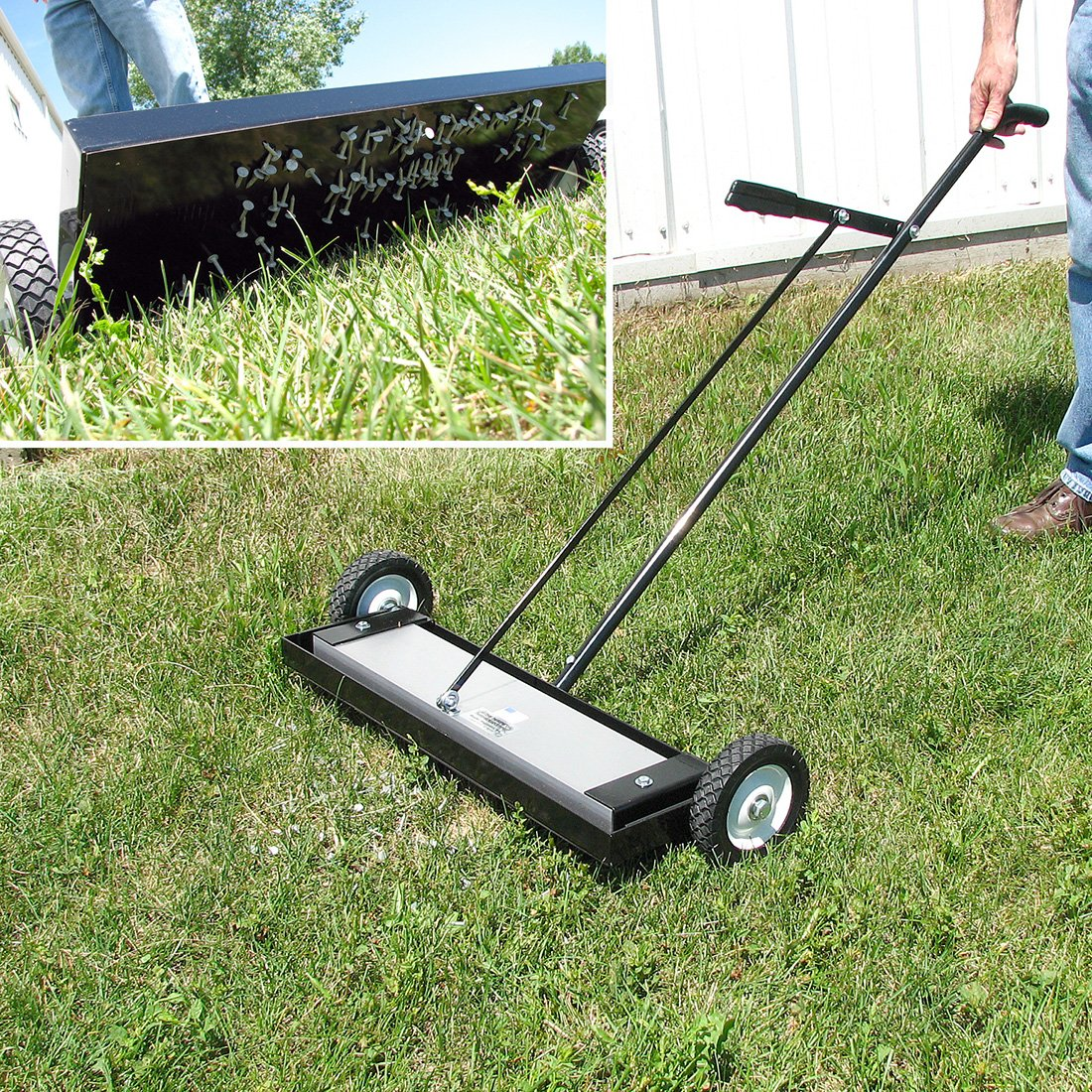 Magnetic Sweeper Heavy Duty Push-Type with Release, 24'' Sweeping Width, 1 each by Master Magnetics