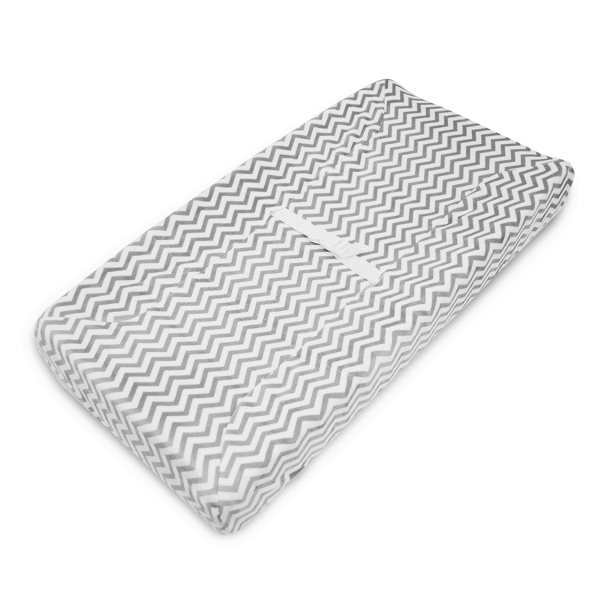American Baby Company Heavenly Soft Chenille Fitted Contoured Changing Pad Cover, Gray Zigzag