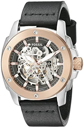 3b7a6c3bac8 Image Unavailable. Image not available for. Color  Fossil Men s ME3082  Modern Machine Automatic Leather Watch ...
