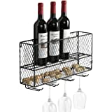 Farm Style Chicken Wire Metal Mesh Wall-Mounted Wine Rack with Cork Storage & Glass Holder, Black
