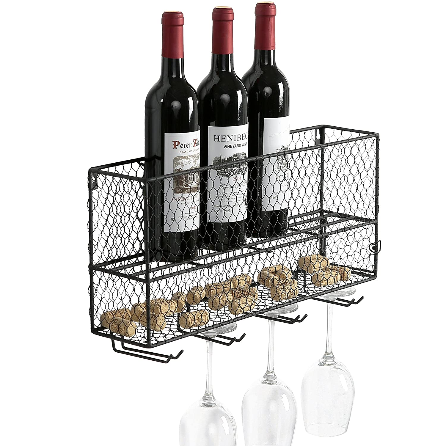 Amazon.com: Farm Style Chicken Wire Metal Mesh Wall-Mounted Wine ...