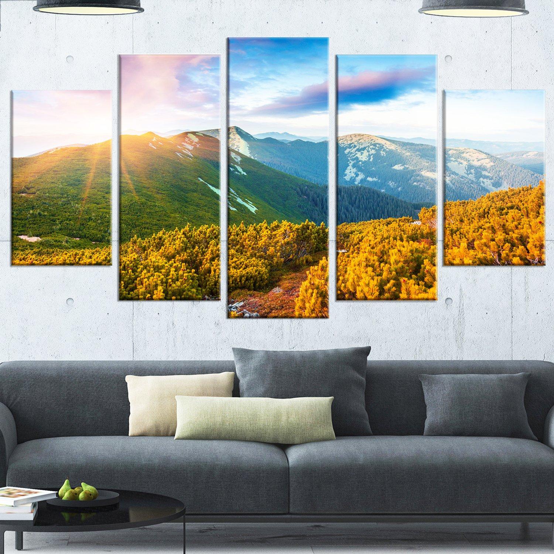 Landscape Artwork Glossy Metal Wall Art 32 H/x/60 W/x/1 D 5PD Green Designart Bright Sunrise in Carpathian Mountains