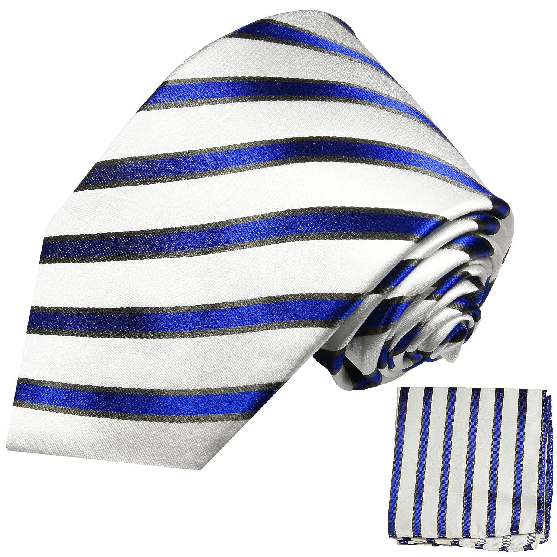 Paul Malone XL Krawatten Set blau weiss 100% Seidenkrawatte (Extralang 165cm) +Einstecktuch 985