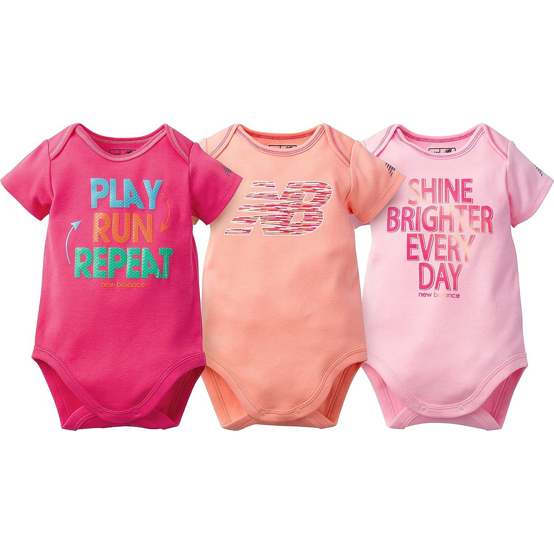 New Balance Baby Girls' 3 Pack Bodysuits, Bleach Pink/Sunrise, 3-6 Months 12523316AGR506M