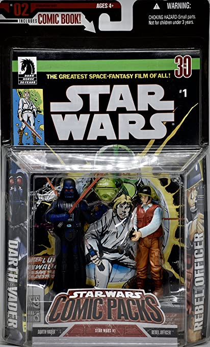 Star Wars - No. 2 Comic Pack - Darth Vader & Rebel Officer Figures ...