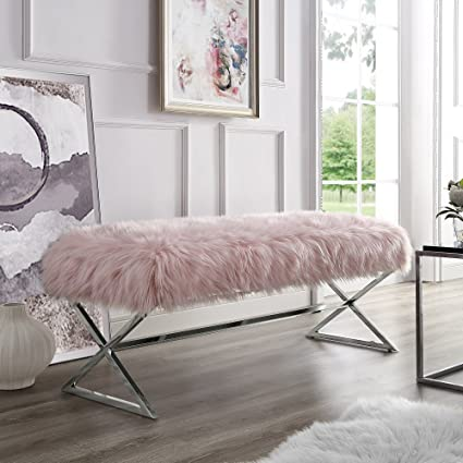 Aurora Pink Fur Upholstered Bench