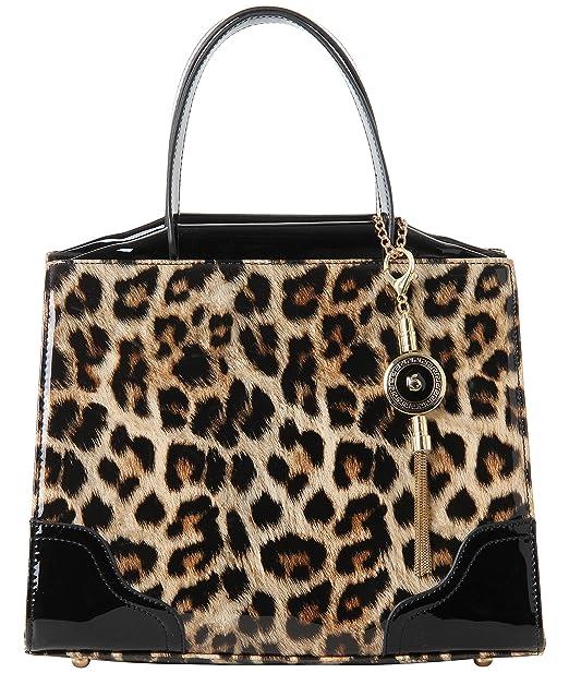601939aae Krisp® para mujer, diseño de bolso de leopardo piel sintética, diseño de  pintauñas negro Talla única: Amazon.es: Ropa y accesorios