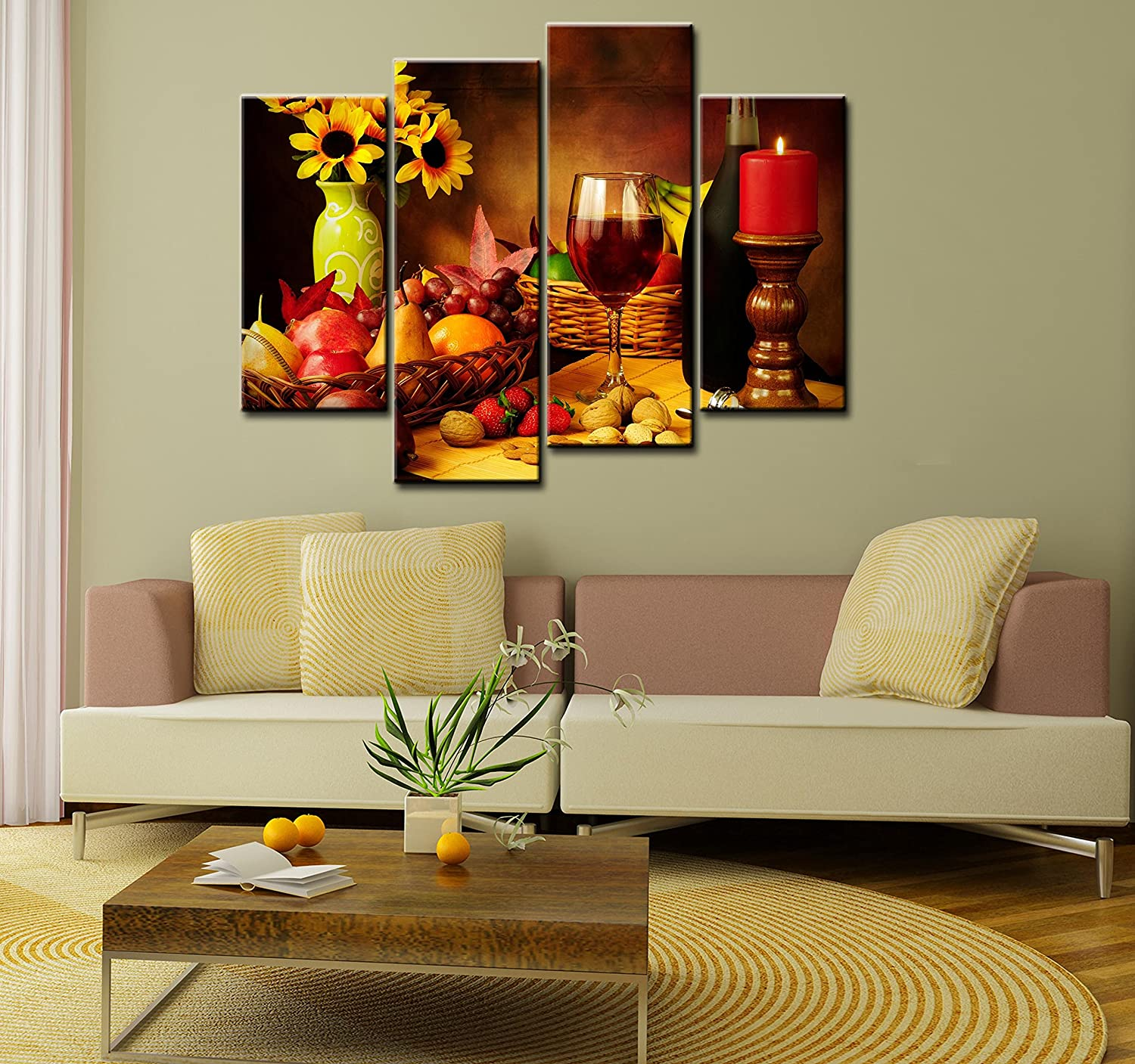 Amazon.com: SmartWallArt   Food Paintings Wall Art Fruit And Red Wine  Beside Candlestick 4 Pieces Picture Print On Canvas Painting Stretched And  Framed On ... Part 56