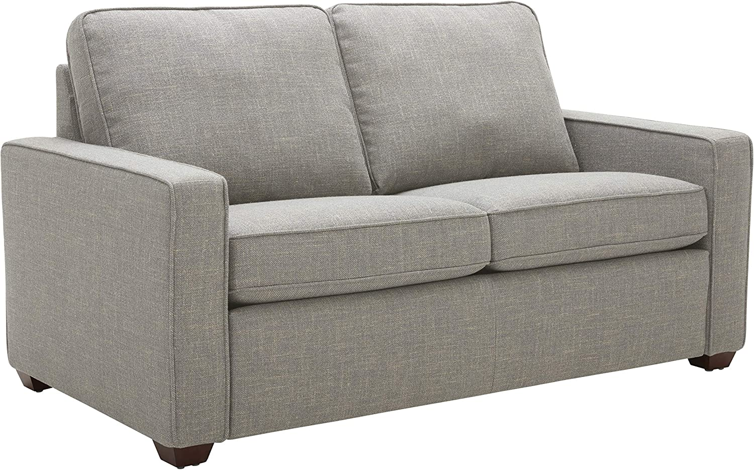 """Amazon Brand – Rivet Andrews Contemporary Loveseat Sofa with Removable Cushions, 67""""W, Light Grey"""