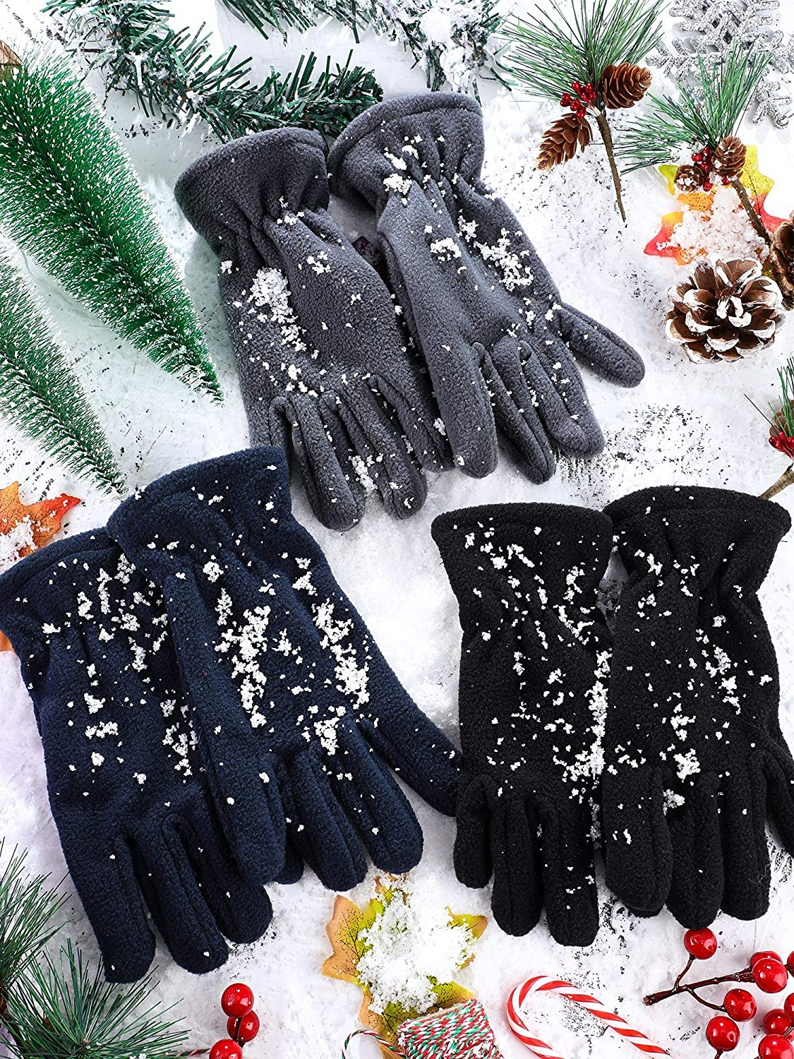 3 Pairs Kids Fleece Gloves Full Fingers Gloves Winter Soft Warm Gloves for Boys Girls Outdoors Activities Supplies: Clothing