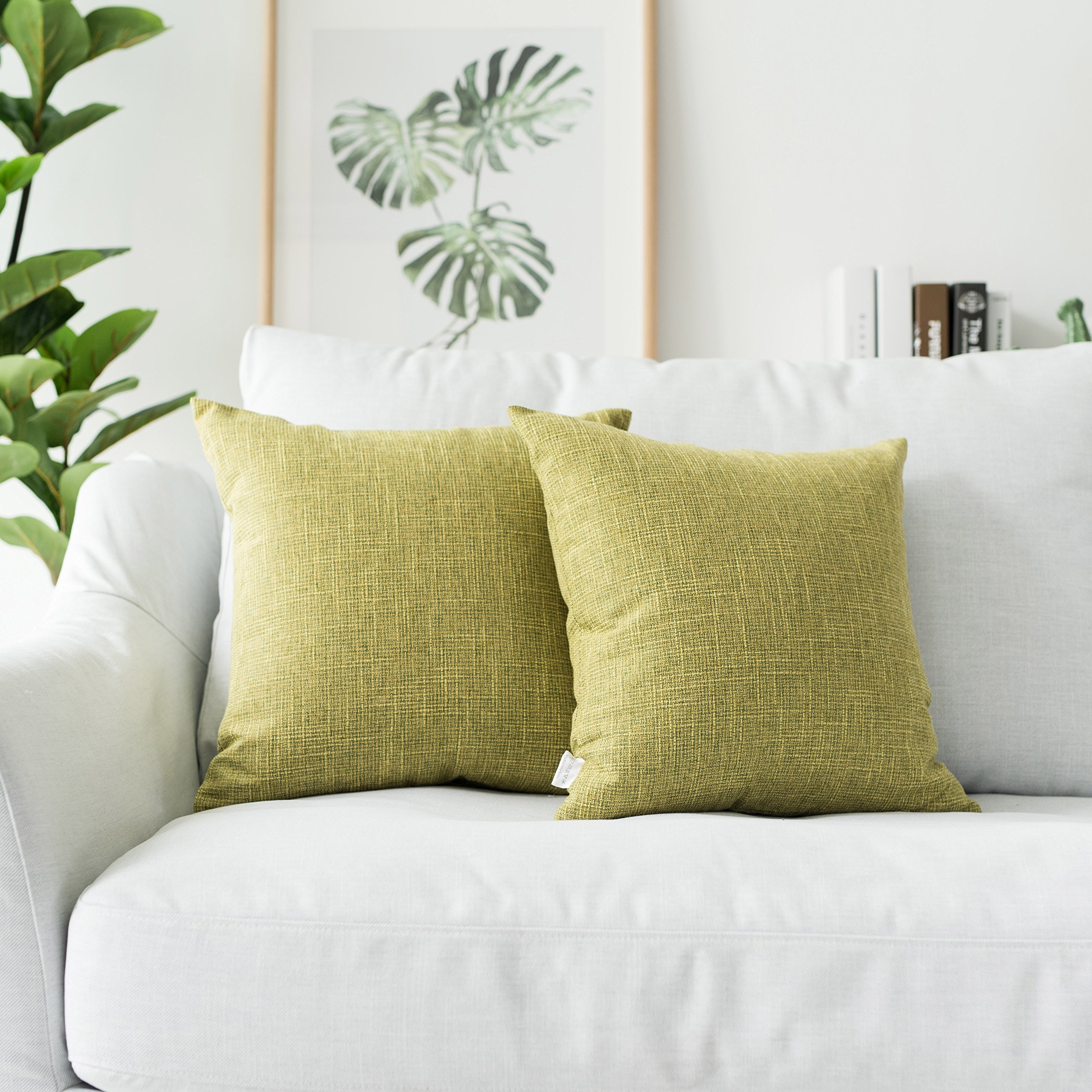 Kevin Textile Pack of 2, Decorative 2 Tone Linen Pillow Covers Cushion Cover for Chair/Sofa/Bed/Car, 18 x 18 Inches,Linden Green