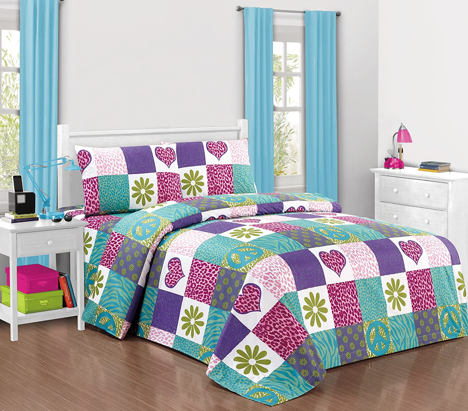 Mk Collection Sheet Set Pink Purple Teal Zebra Leopard Heart Peace Sign Teens/girls