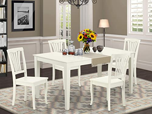 East West Furniture 5PC Rectangular 60 inch Table and 4 vertical slatted Chairs, Linen White