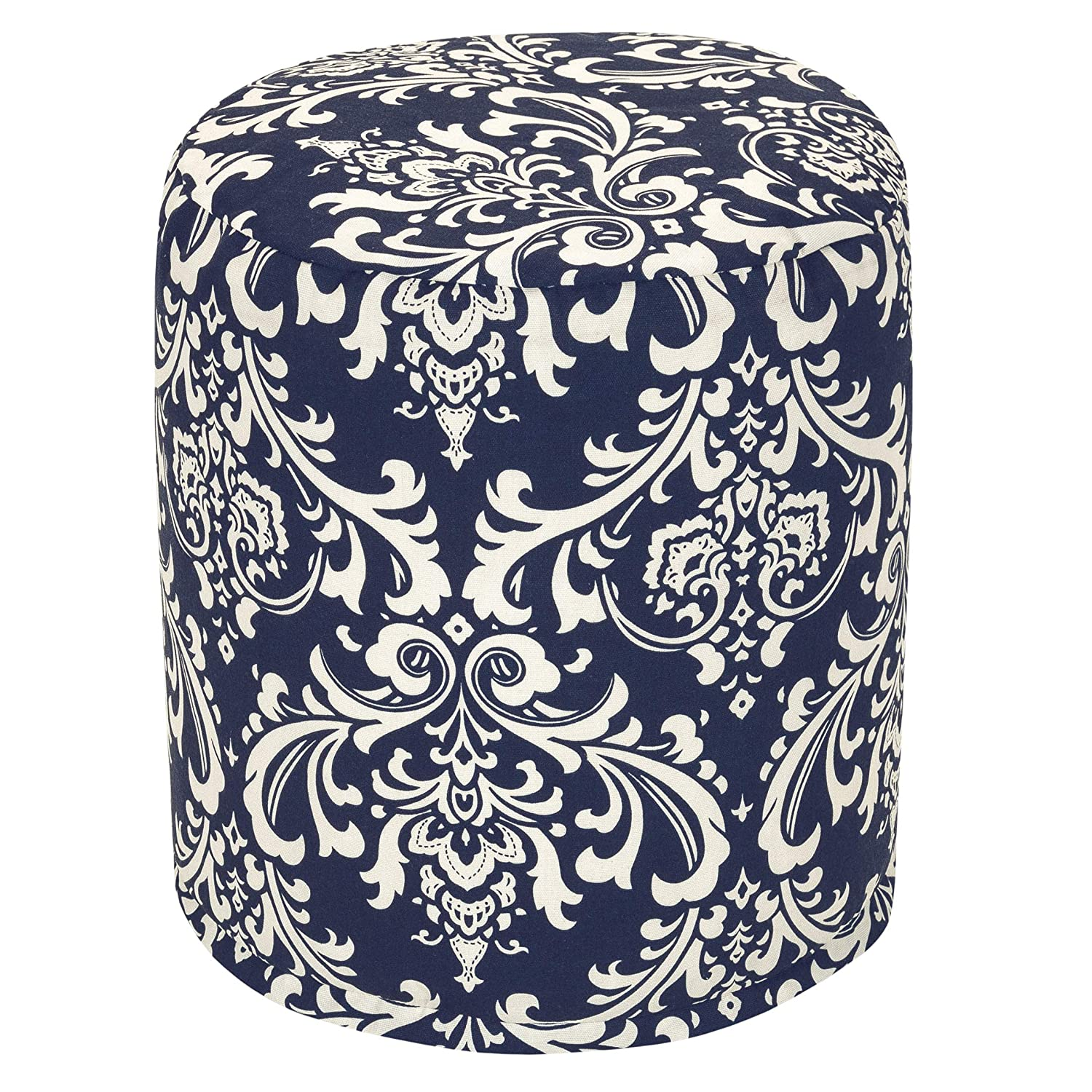 Majestic Home Goods Navy Blue French Quarter Indoor/Outdoor Bean Bag Ottoman Pouf 16 L x 16 W x 17 H Majestic Home Goods LG 85907220412