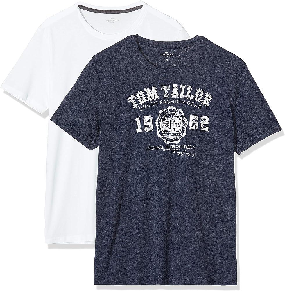 Tom Tailor Doppelpack Basic T-Shirt Camiseta, Azul (Real Navy Blue ...