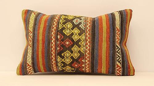 Home Decor Bohemian Kilim Pillow Turkey Pillow Cushion Cover Turkish Kilim Pillow 12x20 Pillow Cover Decorative Throw Pillow