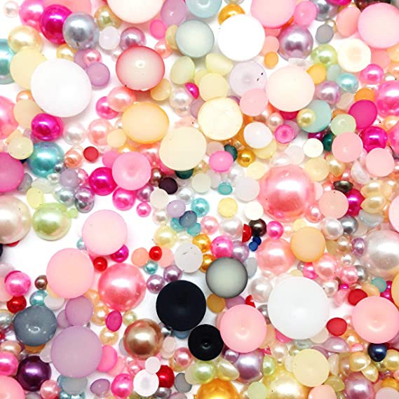 BlackAB Mixed Size Acrylic Cabochons Flat Back Pearls Apprx 350PC + 2~12mm PEPPERLONELY 50 Grams
