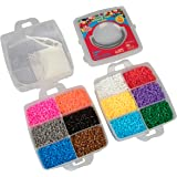 8,000pc Fuse Bead Super Kit - 12 colors, Tweezers, Peg Boards, Ironing Paper, Case - Works with Perler Beads