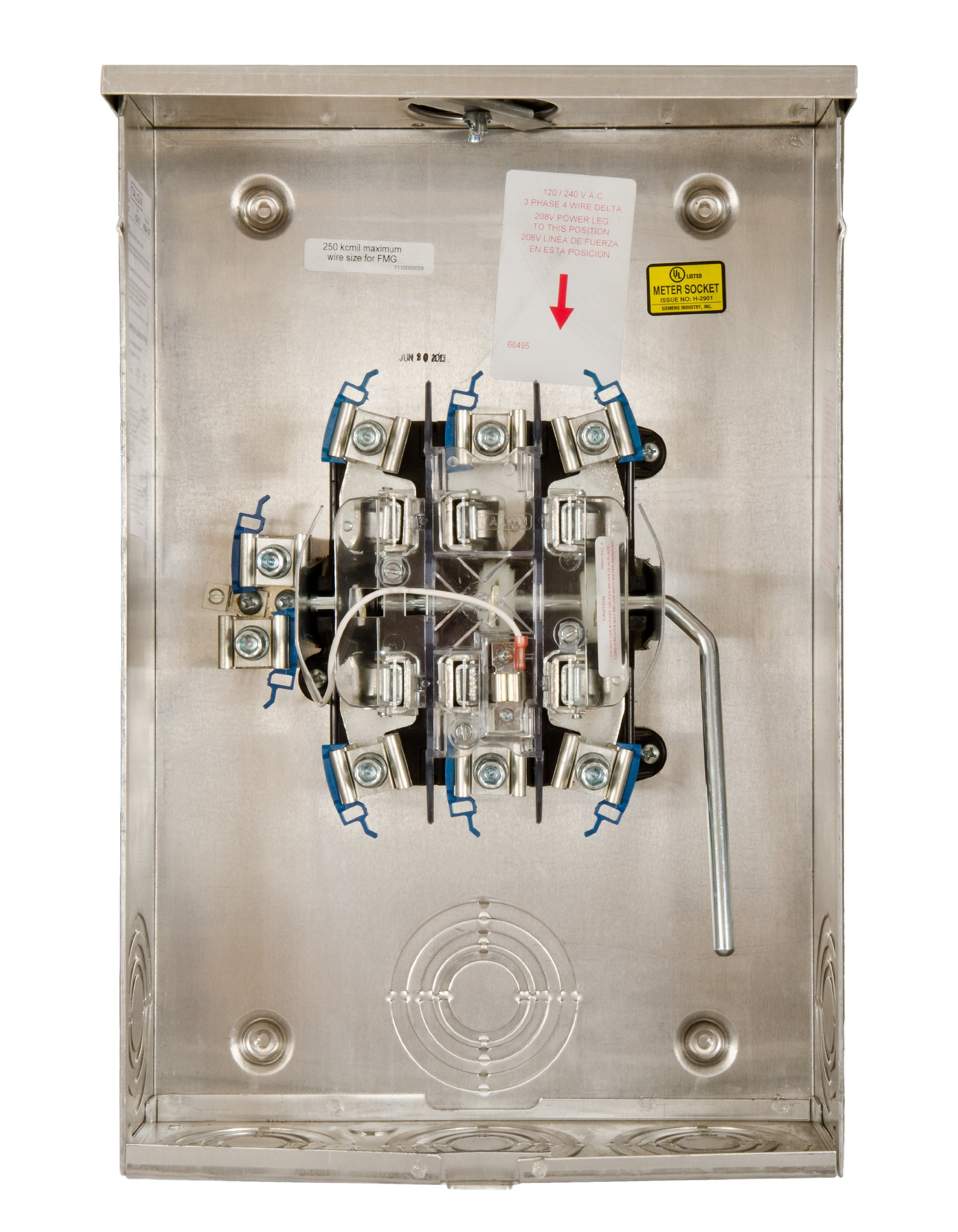 Talon 41407-025F 200-Amp, 7 Jaw, Ringless Cover, Lever Bypass, Overhead And Underground Feed, Aluminum Enclosure, 3-Phase Meter Socket by Talon
