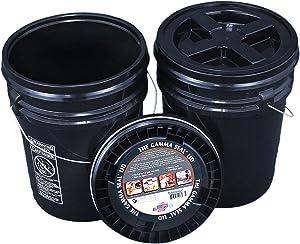 Bucket Kit, Two Black 5 Gallon Buckets with Black Gamma Seal Lids