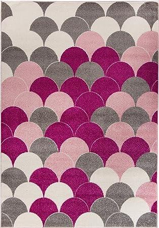 Teppich 10mm Fischschuppen Muster abstrakt rosa grau weiß ...