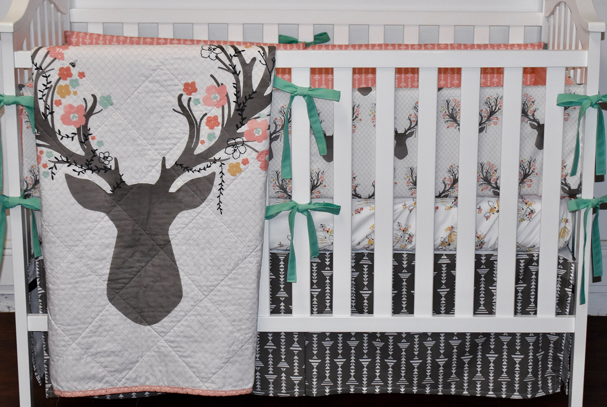 Large Deer Head Crib Bedding, floral deer head, floral bedding, coral bedding, deer, fawn, doe
