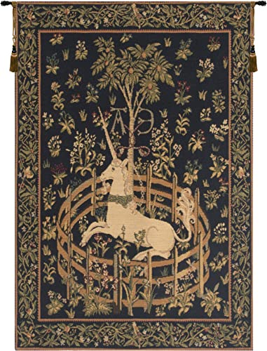 Charlotte Home Furnishings Inc. Unicorn in Captivity European Small Tapestry Wall Hanging Cotton Blend Wall Art 26 in. x 37 in. Home Decor Accents