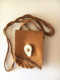 b719f1fbfd Leather Drawstring Medicine Pouch Necklace-Native American Pouch Saddle  Brown-Bone Button