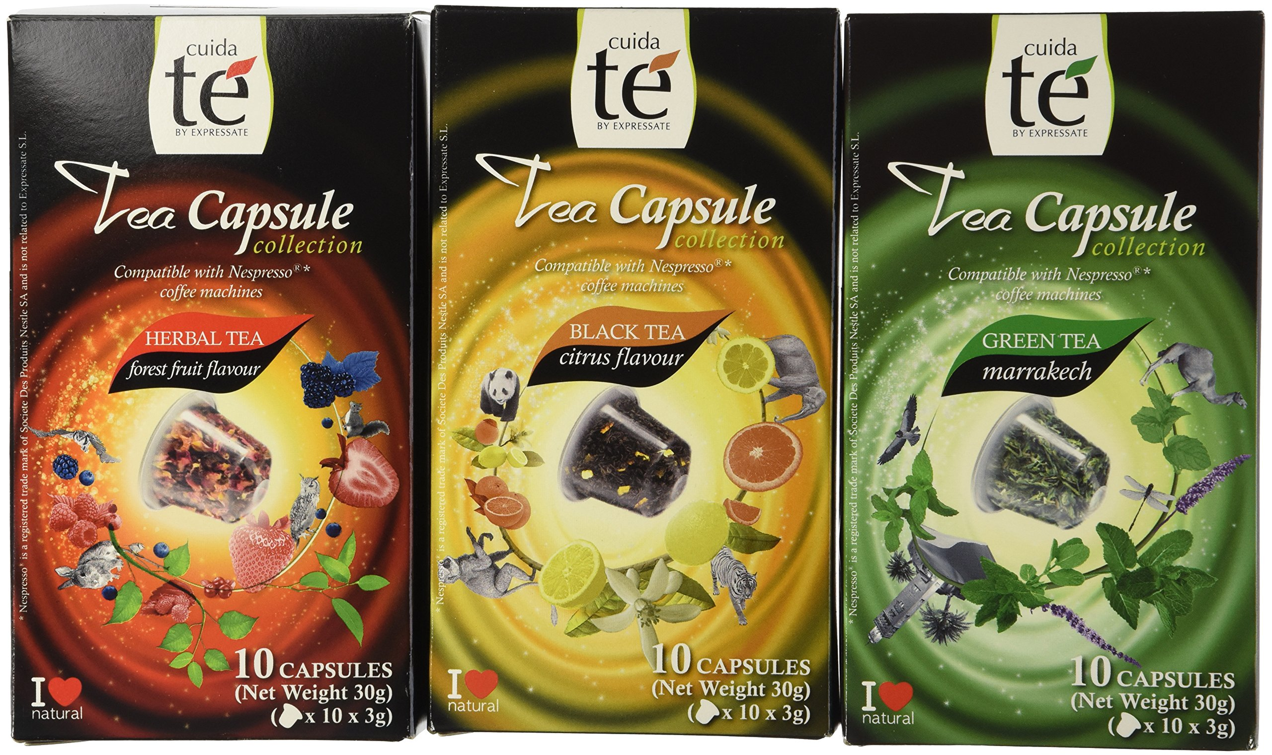 30 Nespresso Compatible Pods - Origen Tea Variety Pack: Black Citrus Tea, Marrakech Green