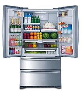 "Smad 36"" French Door Refrigerator 4 Doors Freezer Stainless Steel with Ice Maker, 20 Cu. Ft."