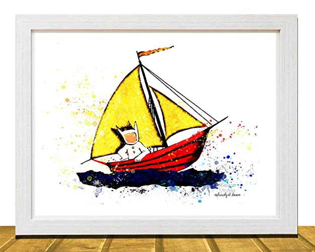 Amazon.com: Where the Wild Things Are Inspired Wall Art, Watercolor ...