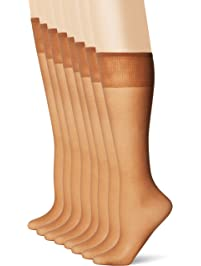 L'eggs Women's Plus-Size Everyday Knee High Sheer Toe Panty Hose (Pack Of 8)