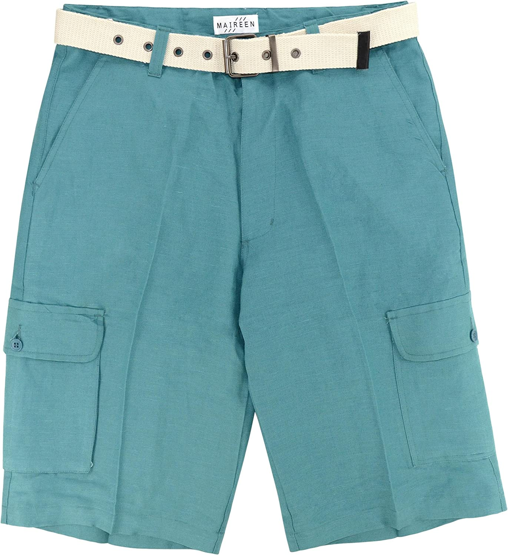 CONCITOR Men/'s Linen Cargo Shorts Flat Front Solid Turquoise BLUE Short /& Belt