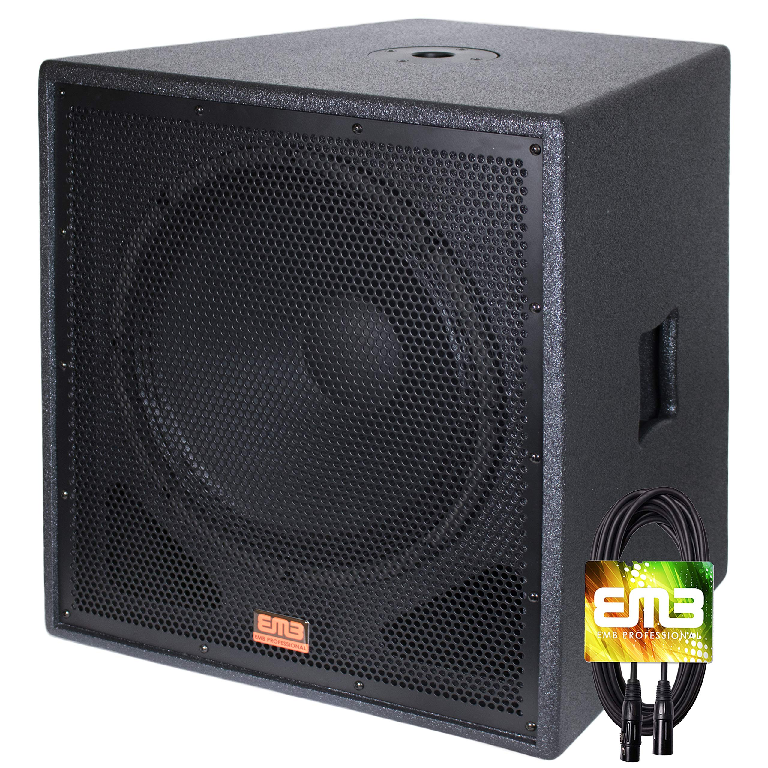 New EMB Professional EBP15Sub Bass Gig 15'' 1500 Watt Active Powered PA Subwoofer DJ/Pro w/ 25FT XLR Cable by EMB Professional