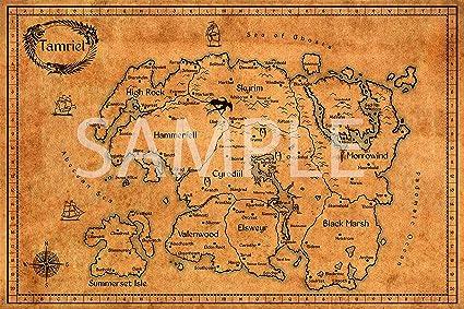 Amazon.com: Best Print Store - Elder Scrolls, Vintage Map of Tamriel ...