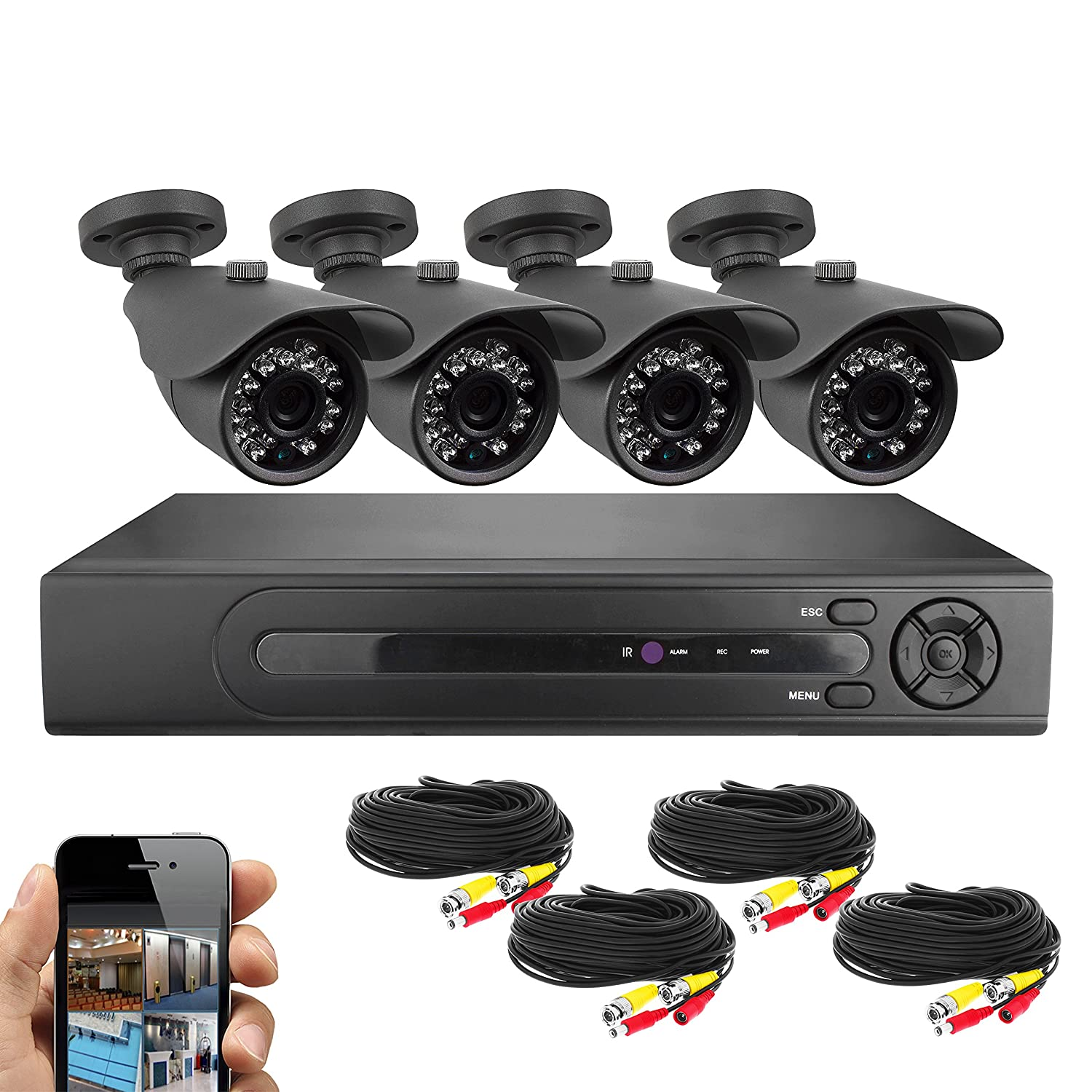 amazoncom best vision systems bv 8 channel hd 1080n dvr security system with 1tb hard drive and 4x 720p ir outdoor bullet