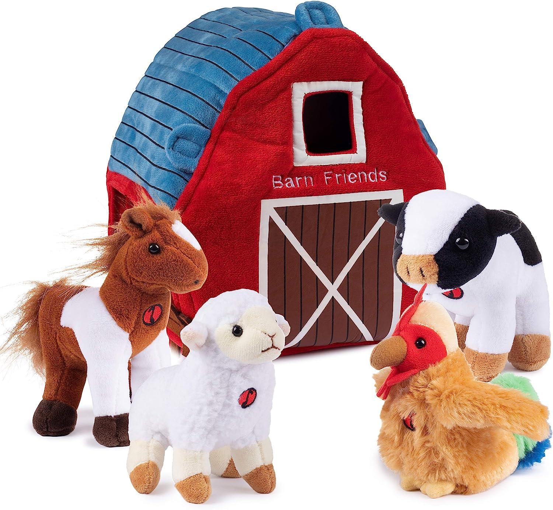 Amazon Com Plush Creations Plush Farm Animals For Toddlers With Plush Barn House Carrier Animal Farm Set Includes 4 Talking Soft Cuddly Plush Stuffed Animals A Plush Cow Plush Horse Plush Lamb Plush