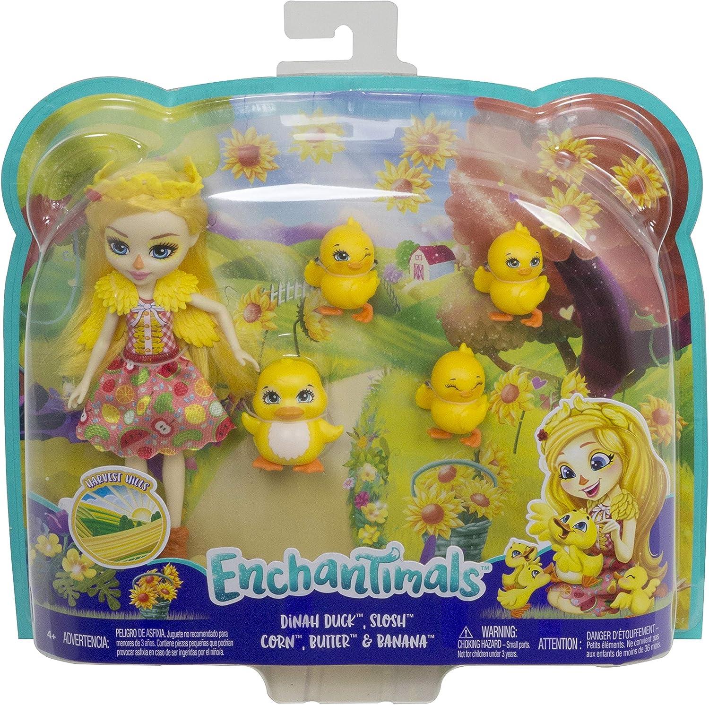 Enchantimals GJX45 Dinah Duck Doll with Slosh /& Family