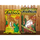 Julio's Corn Tortilla Chips (1 Bag Each Original Lightly Seasoned and Freaking Hot 9oz) (Total of 2 Bags) Habanero